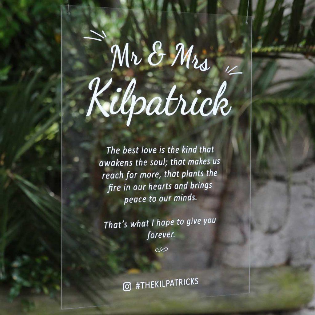 foto na skle - svatební oznámení